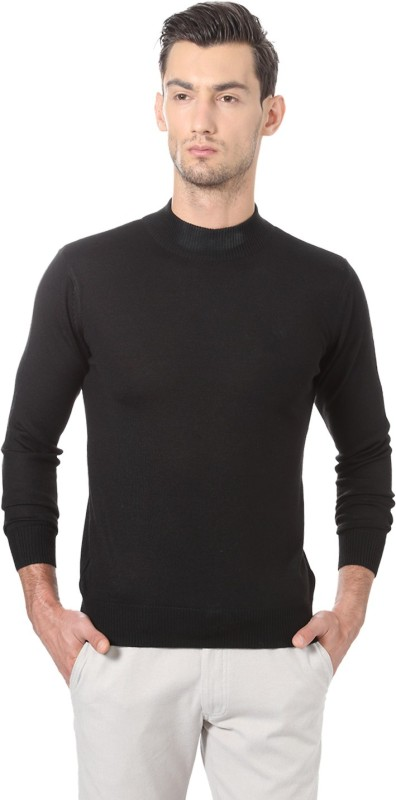 Allen Solly Solid Crew Neck Casual Men Black Sweater
