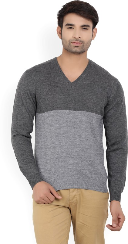 Wills Lifestyle Solid V-neck Formal Mens Grey Sweater