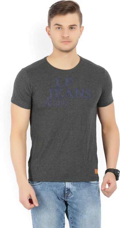 LP Jeans by Louis Philippe Solid, Self Design Mens Round Neck Grey T-Shirt