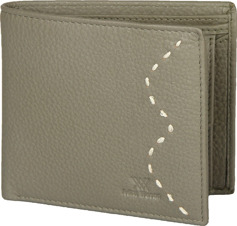 Aditi Wasan Men Grey Genuine Leather Wallet(3 Card Slots)