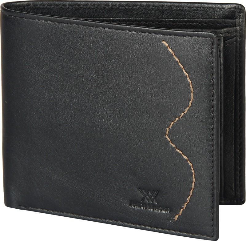 Aditi Wasan Men Black Genuine Leather Wallet(3 Card Slots)