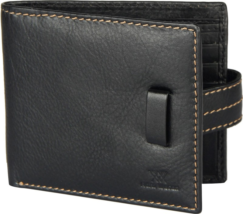 Aditi Wasan Men Black Genuine Leather Wallet(8 Card Slots)