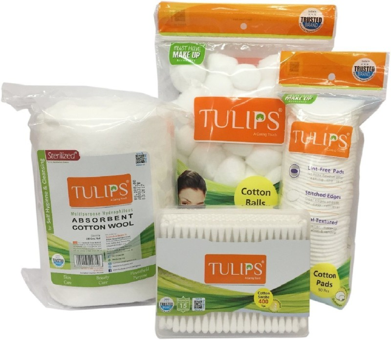 Tulips Combo Pack of Cotton White Balls,Buds, Pads and Cotton Rolls(4 Units)