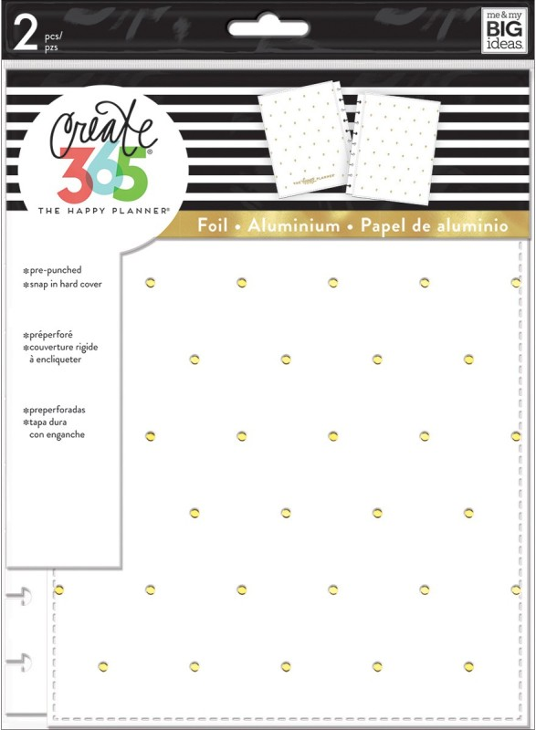 Me & My Big Ideas Create 365 Classic Snap-In Hard Cover Planner-White With Gold Dots