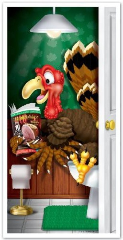 Beistle 1-Pack Decorative Turkey Restroom Door Cover, 30-Inch By 5-Feet