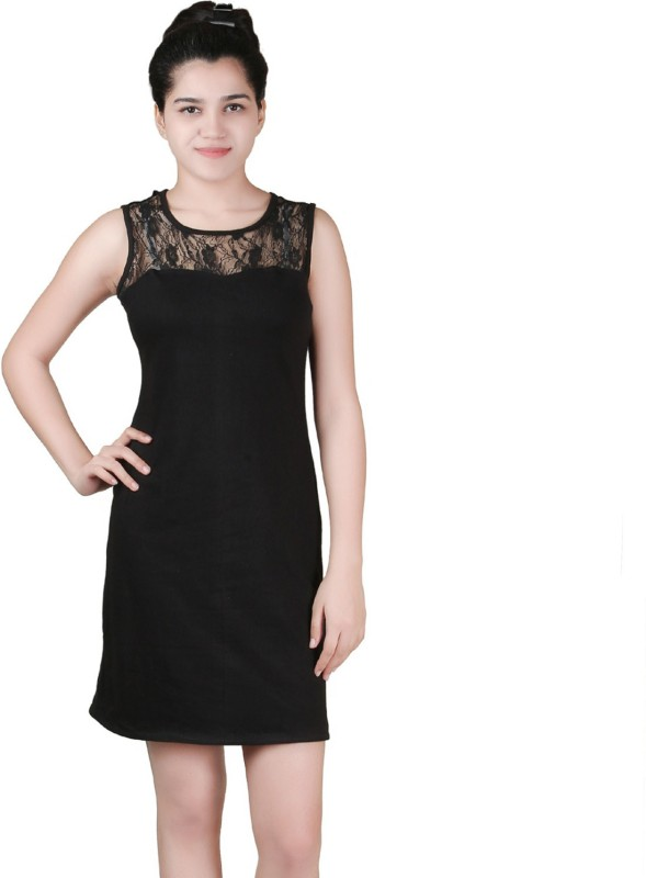 VR Designers Women Shift Black Dress