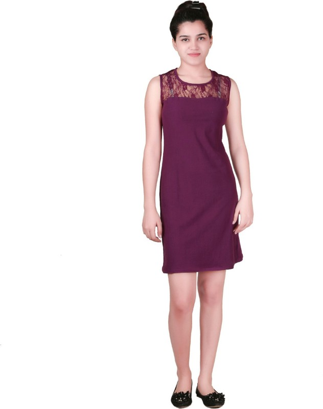 VR Designers Women Shift Purple Dress