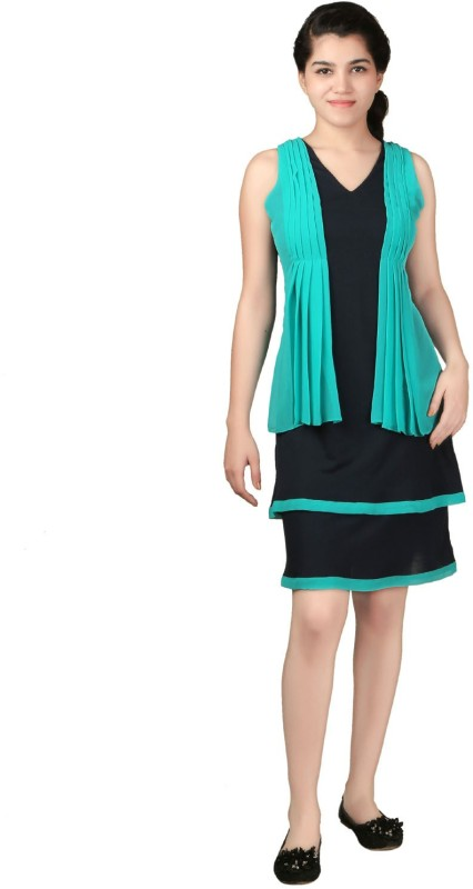 VR Designers Women Layered Green, Blue Dress