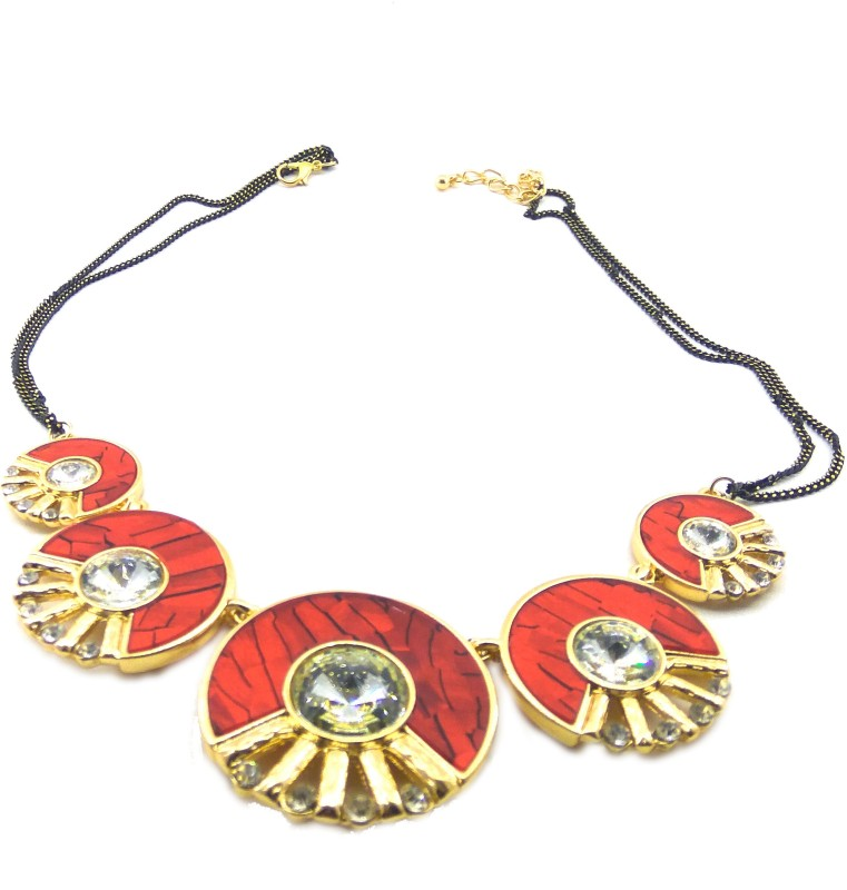Jaisvi Collection Trendy Red Colour Necklace For Women And Girls Alloy Necklace Set