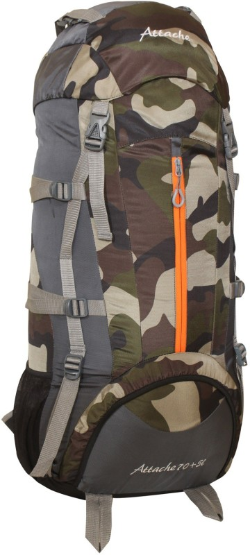 Attache 1021R Climate Proof Rucksack, Hiking Backpack 75Lts Camouflage & Grey With Rain Cover Rucksack - 75 L(Multicolor)
