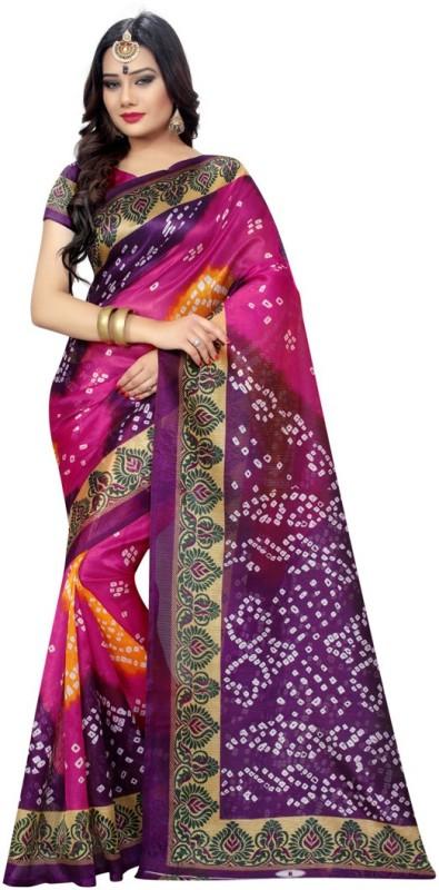 Saara Self Design, Printed Bandhani Art Silk Saree(Purple, Pink)