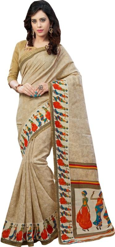 Ratnavati Printed Bhagalpuri Art Silk Saree(White)