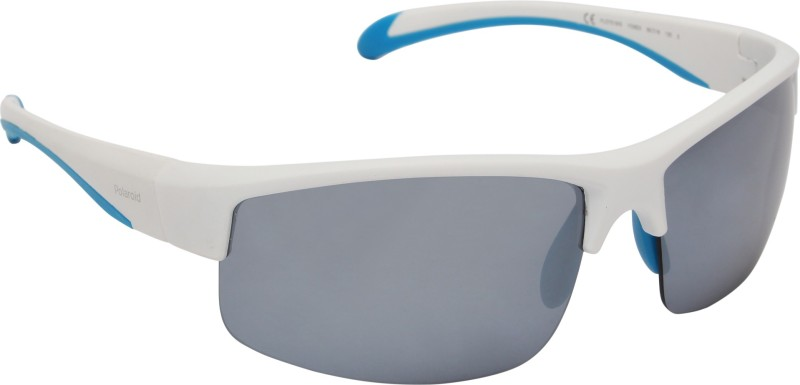 Polaroid Rectangular Sunglasses(Silver)