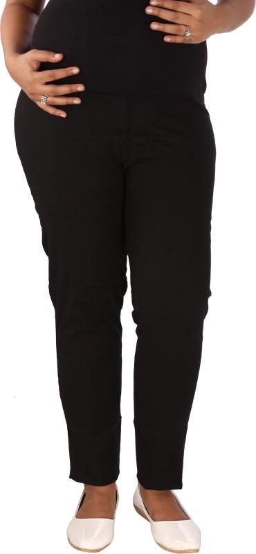 Mammas Maternity Regular Fit Womens Linen Black Trousers