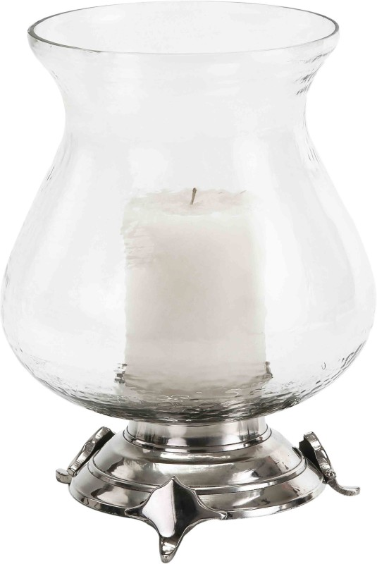 Sammsara Tryka Hurricane Candlestand Glass, Aluminium 1 - Cup Candle Holder(Steel, Pack of 1)