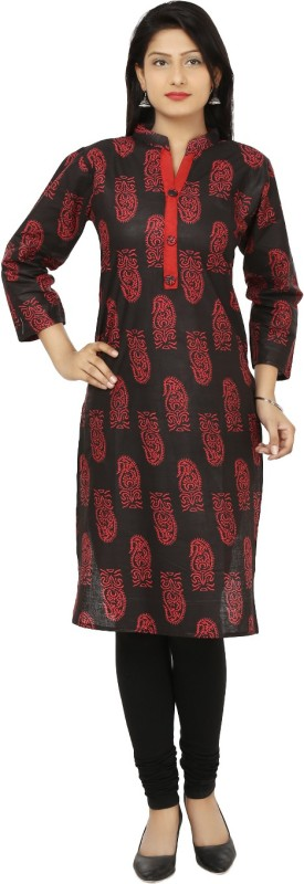 Crease & Clips Casual Printed Women's Kurti(Red)