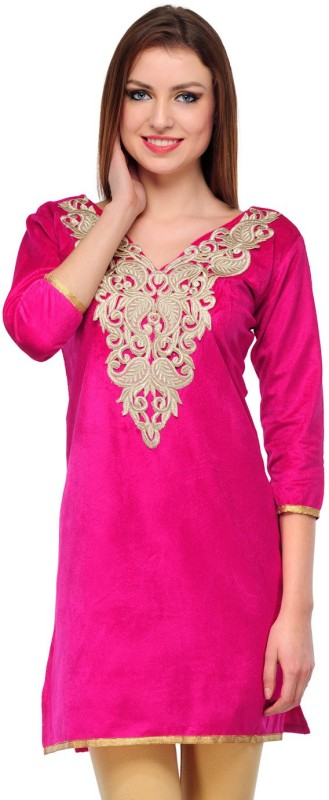 Klick Formal Solid, Self Design Women's Kurti(Pink)