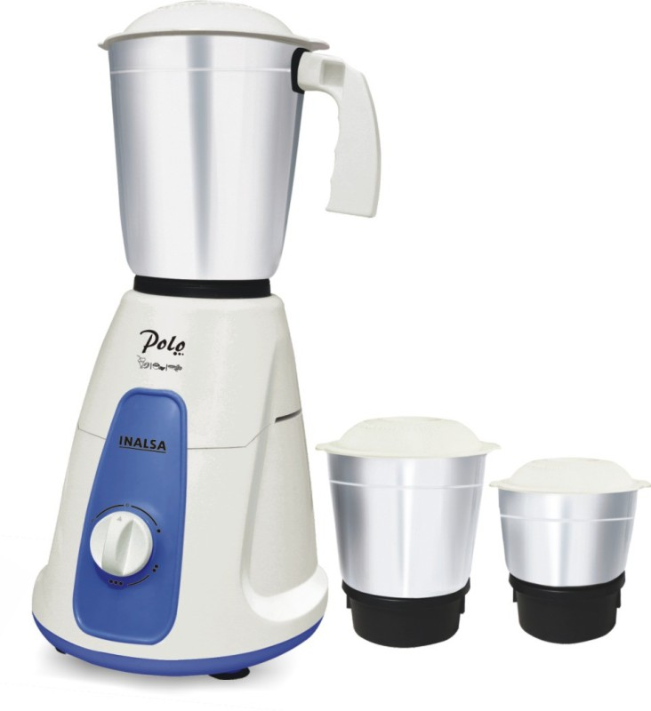 Inalsa Polo 550 W Mixer Grinder(White, Blue, 3 Jars)