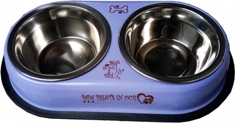 Petshop7 Purple 250 Ml Dog Double Dinner Set Oval Steel Pet Bowl & Bottle(250 ml Purple)
