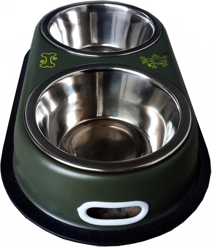 Petshop7 Green 500 Ml Dog Double Dinner Set Oval Steel Pet Bowl & Bottle(500 ml Green)