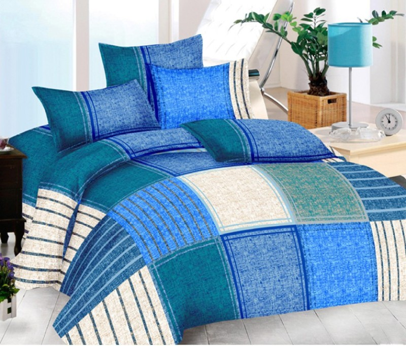 The Intellect Bazaar 150 TC Cotton Double King Geometric Bedsheet(1 Double Bedsheet with 2 pillow covers, Blue)