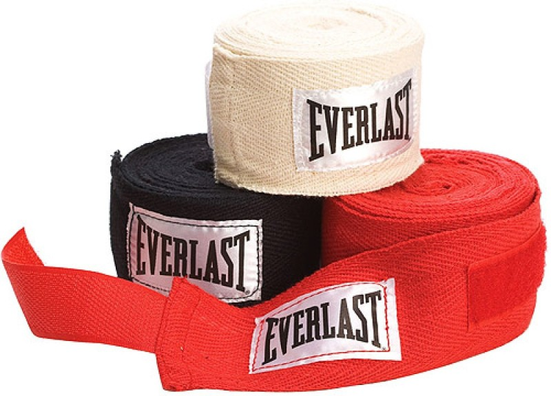 Everlast 4455-3 Black, White, Red Boxing Hand Wrap(Black, White, Red, 120 inch)