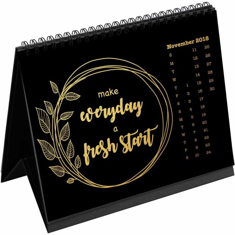 Clixicle Clixicle 2018 Calendar 12 Goals / Resolutions - Black Gold - 6in x 8in 2018 Table Calendar(Black, Resolutions)