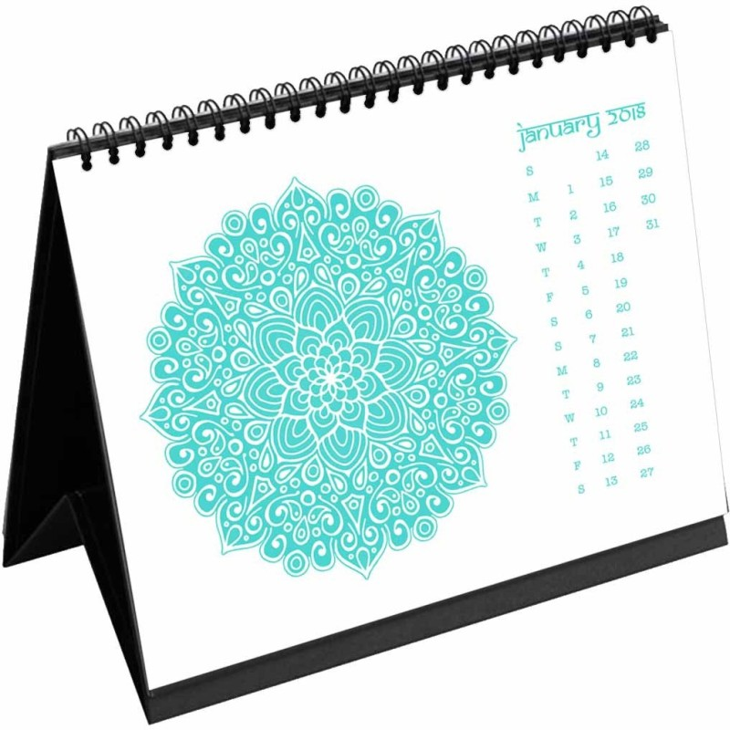 Clixicle Clixicle 2018 Calendar Mandala - White Color - 6in x 8in 2018 Table Calendar(White, Mandala)