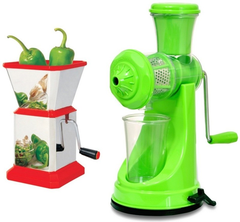 Cronus Combo Of Green Juicer & Square Chilly Cutter Plastic Hand Juicer(Multicolor Pack of 2)