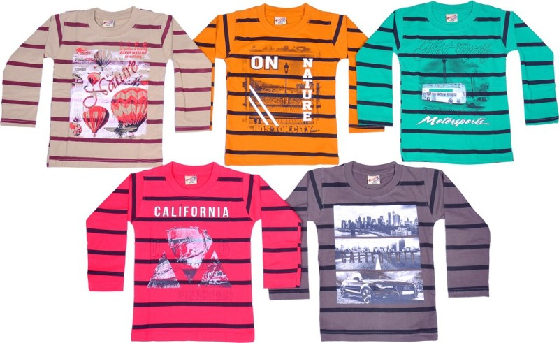 1LY GARMENTS Boys Striped, Printed, Floral Print Cotton T Shirt(Multicolor, Pack of 5)