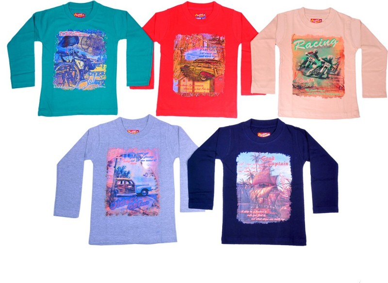 1LY GARMENTS Boys Printed, Floral Print, Graphic Print Cotton T Shirt(Multicolor, Pack of 5)