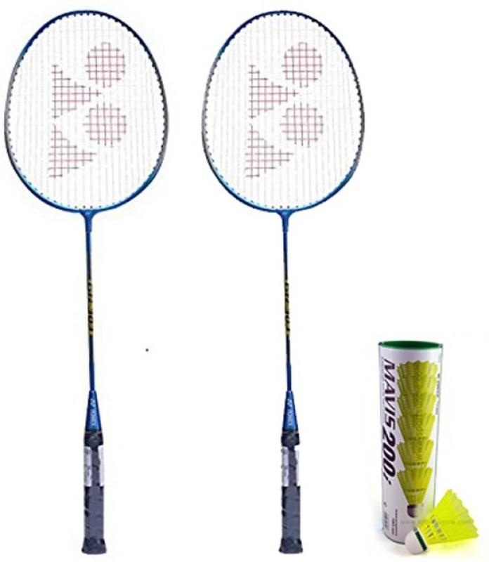 Yonex GR 303 Badminton Racquet Set of 2 (Blue) + Mavis 200i Shuttlecock, Pack of 6 Badminton Kit