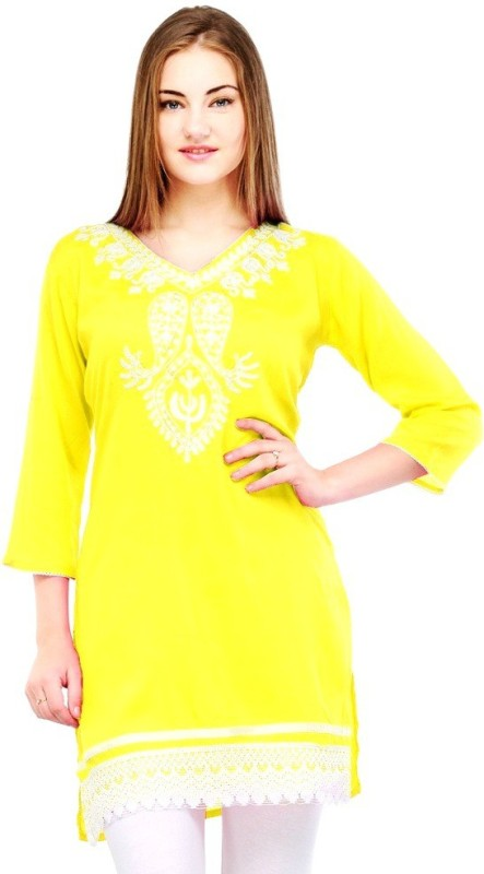 Crease & Clips Casual Embroidered, Paisley Women's Kurti(Yellow)