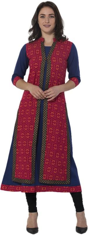 M&D Casual Printed Women's Kurti(Blue, Red)