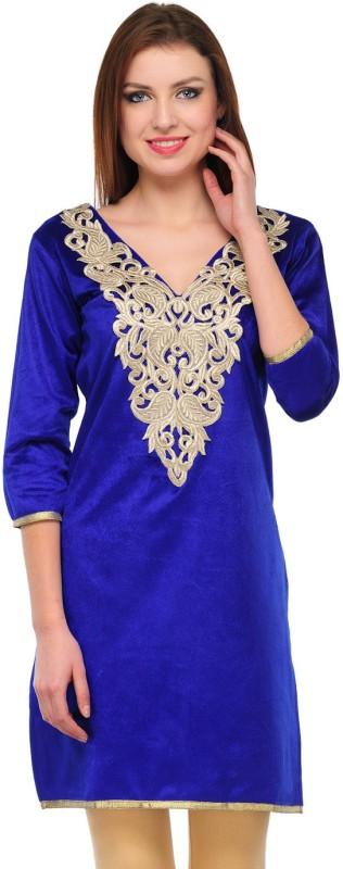 Klick Formal Solid, Self Design Women's Kurti(Blue)