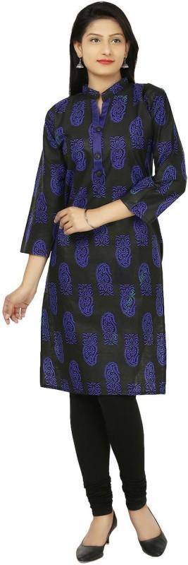 Crease & Clips Casual Printed Women's Kurti(Blue)