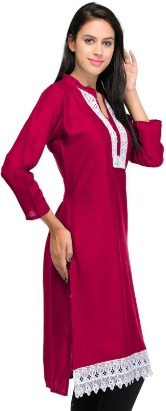 Crease & Clips Casual Solid Women's Kurti(Pink)