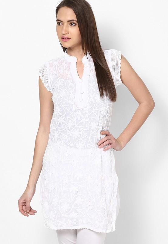 Crease & Clips Embroidered Women's Straight Kurta(White)