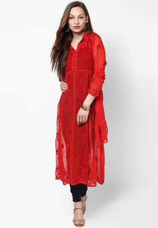 Crease & Clips Casual Embroidered Women's Kurti(Red)