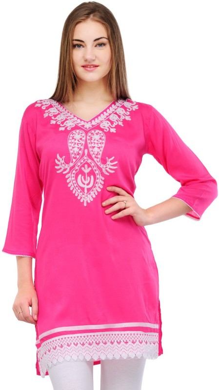 Crease & Clips Casual Embroidered, Paisley Women's Kurti(Pink)