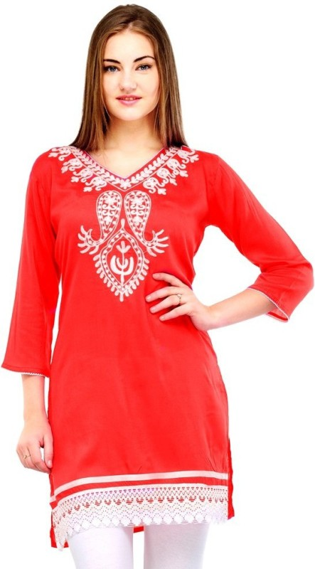 Crease & Clips Casual Embroidered, Paisley Women's Kurti(Red)