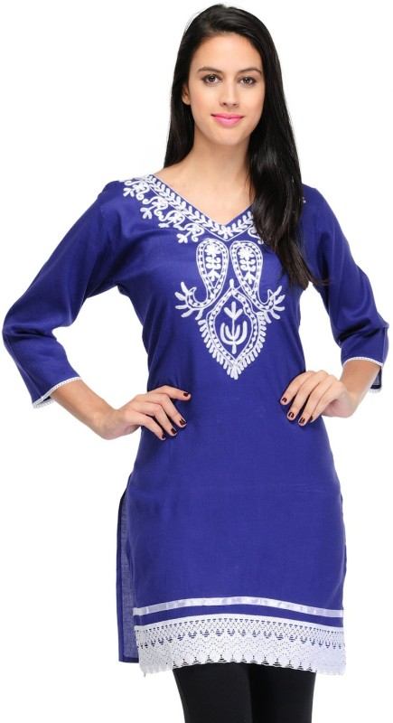 Crease & Clips Casual Embroidered, Paisley Women's Kurti(Blue)