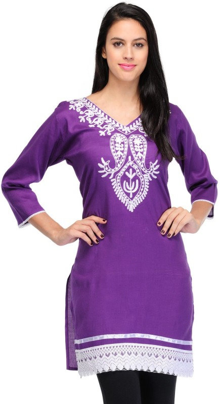 Crease & Clips Casual Embroidered, Paisley Women's Kurti(Purple)