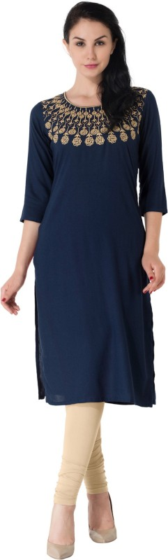 M&D Casual Embroidered Women Kurti(Blue)