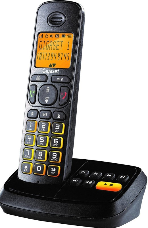 Gigaset A500A with Answering Machine Cordless Landline Phone with Answering Machine(Black)
