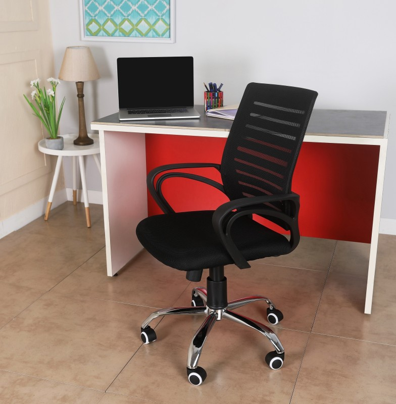 VJ Interior Fabric Office Visitor Chair(Black)