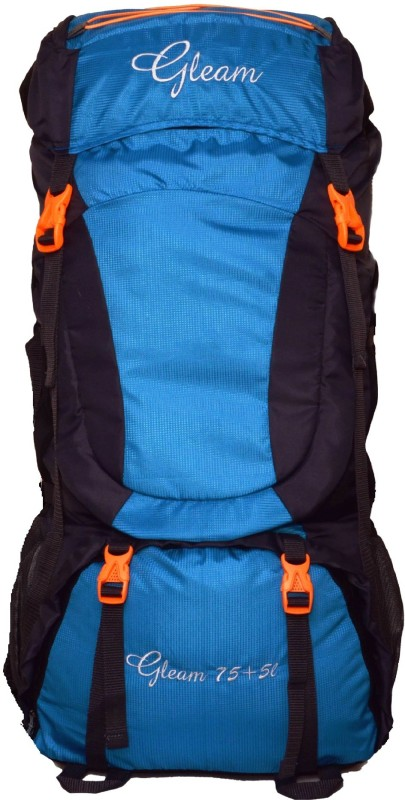 Gleam 407 Climate Proof Mountain / Hiking / Trekking / Campaign Bag / Backpack 80 ltrs Sky Blue & Black with Rain Cover Rucksack - 80 L(Multicolor)