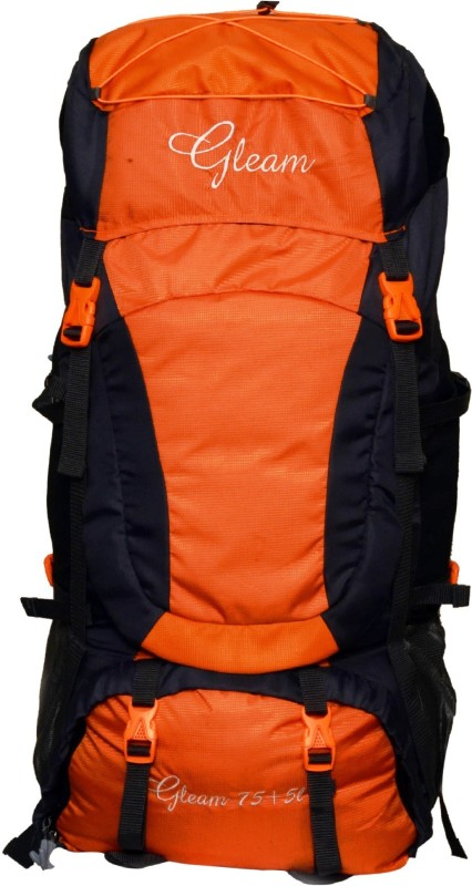Gleam 403 Climate Proof Mountain / Hiking / Trekking / Campaign Bag / Backpack 80 ltrs Orange & Black with Rain Cover Rucksack - 80 L(Multicolor)