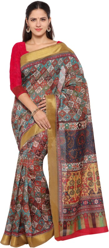 Rajnandini Printed Patola Tussar Silk Saree(Multicolor)