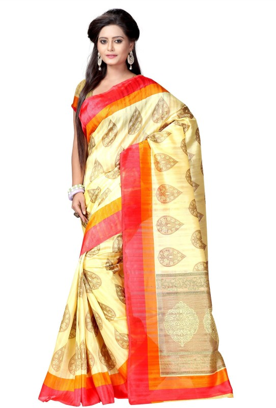 Active Printed Bhagalpuri Art Silk Saree(Beige)